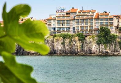Посрещнете Великден или Гергьовден в Хотел Корал 3* в Созопол! 3 нощувки със закуски и вечери, тематични празнични вечери, ползване на закрит басейн, шезлонг и фнтес - Снимка