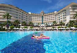 Самолетна почивка в Турция! 7 нощувки на човек на база All inclusive в Saphir Resort & Spa 5*, Алания, Турска ривиера с двупосочен чартърен полет от София - Снимка