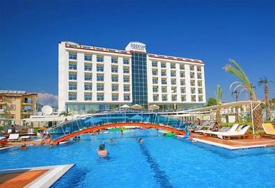 Самолетна почивка в Турция! 3 нощувки на човек на база All inclusive в Side Kum Hotel 5*, Сиде, Турска ривиера с двупосочен чартърен полет от София - Снимка